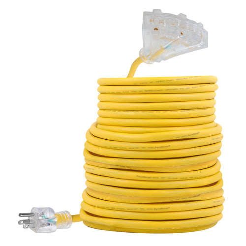 extension cord sjeow 100ft 12 awg 14/3 yellow triple tap lighted outlet