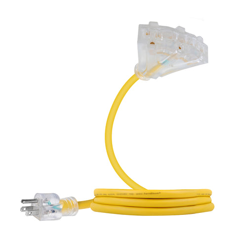 extension cord sjeow 2ft 12 awg 12/3 yellow power triple tap lighted outlets