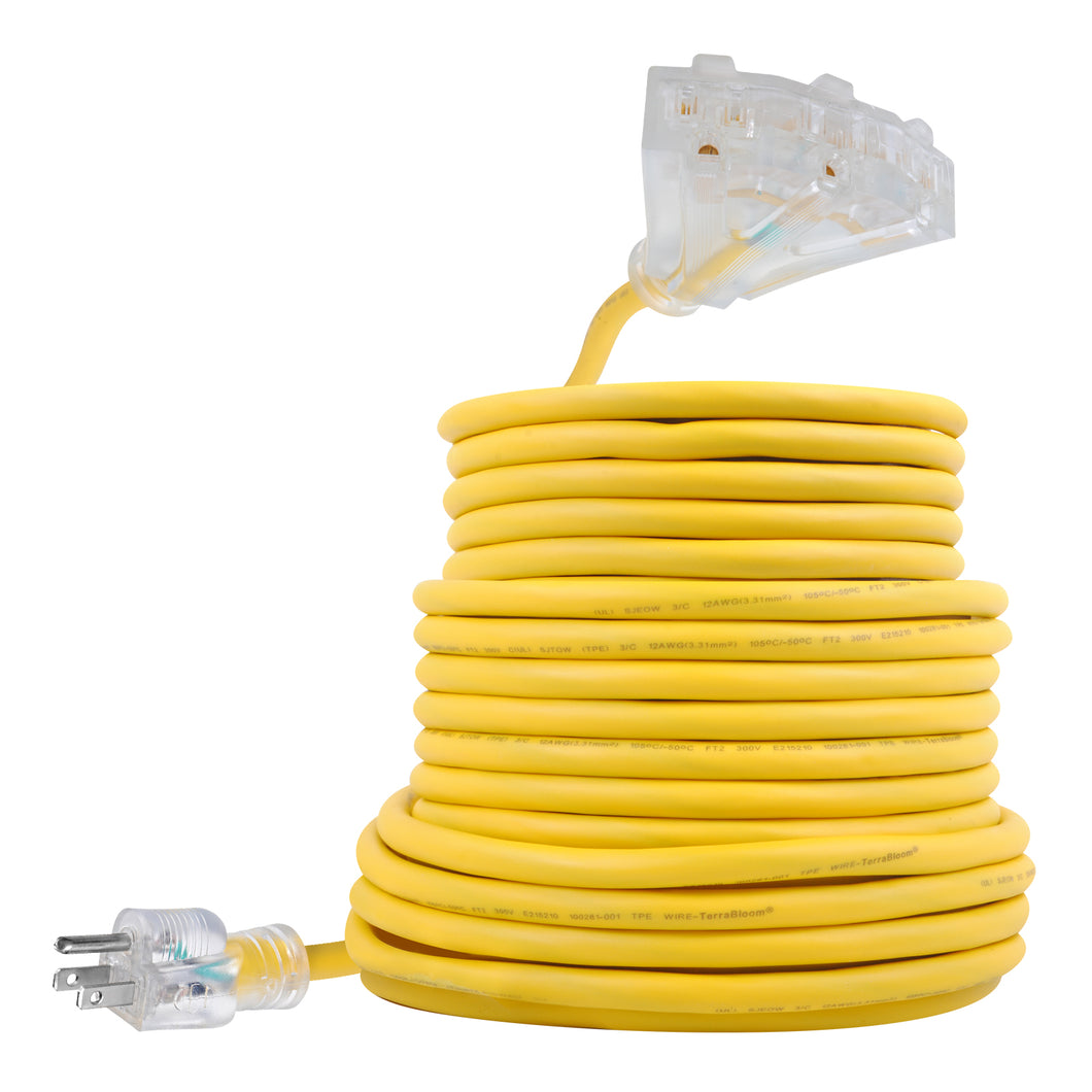 extension cord sjeow 50ft 12 awg 14/3 yellow lighted triple tap outlets
