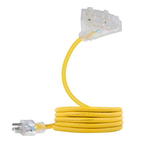 extension cord sjeow 6ft 14 awg 12/3 yellow triple tap lighted outlet
