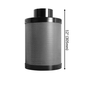 "TerraBloom Premium Carbon Filter, 4"" by 12"", 200 CFM, Australian Carbon, 1.8"" Thick Bed, Carbon Air Scrubber For Indoor Gardens, Grow Tents, Hydroponics, Odor and Smoke Elimination"