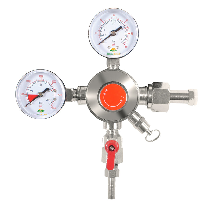 TerraBloom CO2 Keg Pressure Regulator for Draft Beer Kegerators. Dual Gauge Heavy Duty Unit with CGA-320 Inlet, 0-50 PSI Working Pressure with Safety Relief Valve - TerraBloom