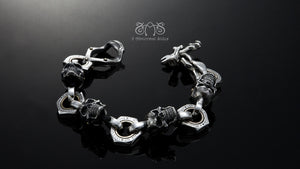 Movable Piston skull Bracelet XXL| Let's Ride Collection