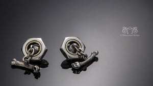 Nut Cufflink with skull and bone | Let's Ride Collection