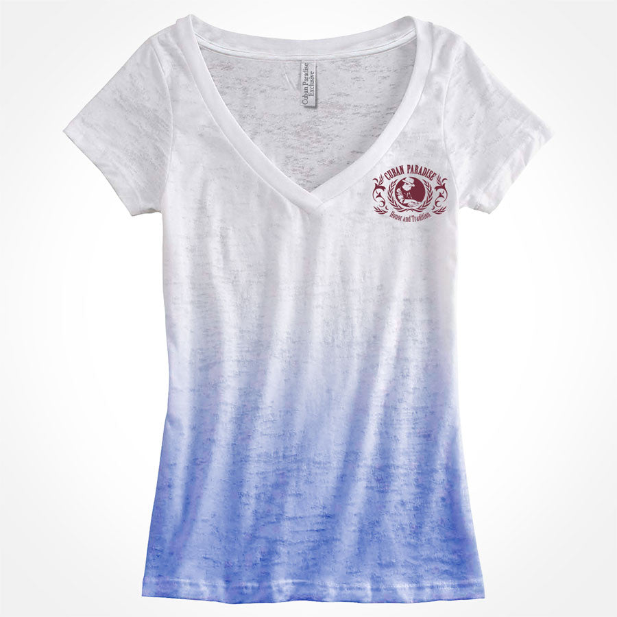 T-Shirt Deep V-neck, aficionada. Ombre Blue