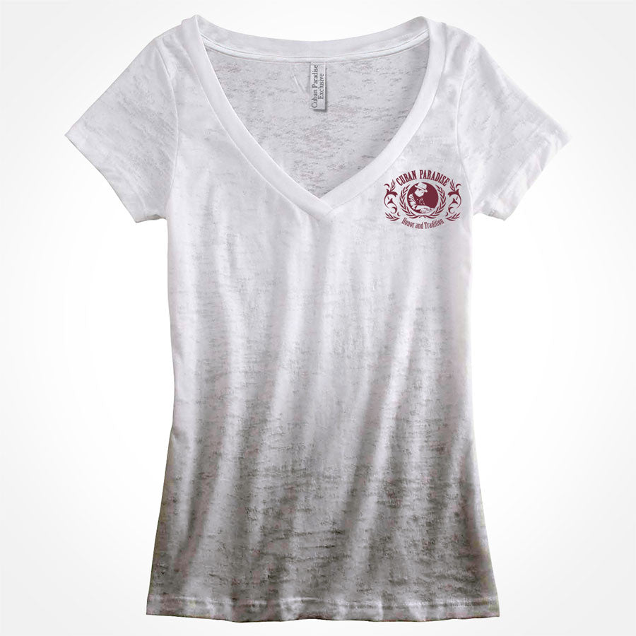 T-Shirt Deep V-neck, aficionada. Ombre Gray