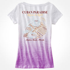 T-Shirt Deep V-neck, aficionada. Ombre Purple