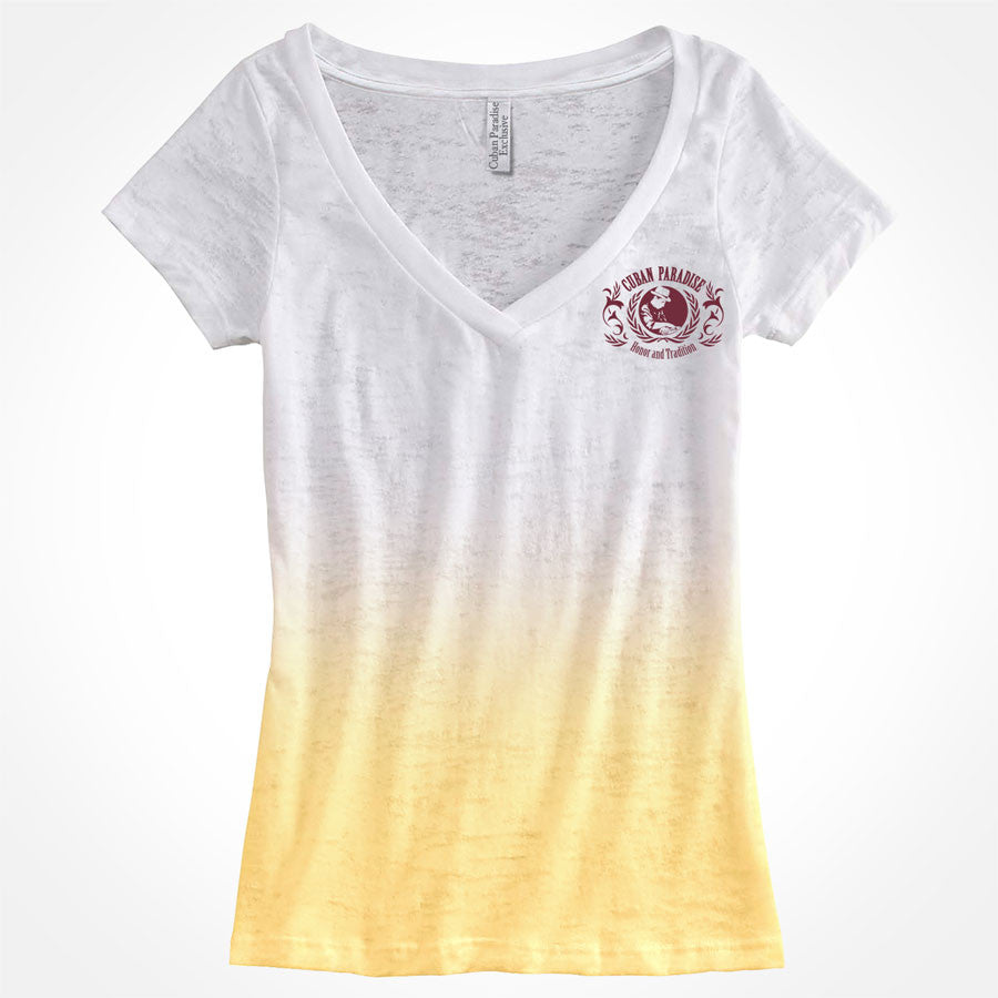 T-Shirt Deep V-neck, aficionada. Ombre Yellow