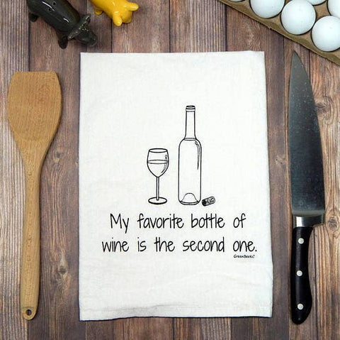 Green Bee Tea Towels - My Favorite Bottle Of Wine Is The Second One Tea Towel