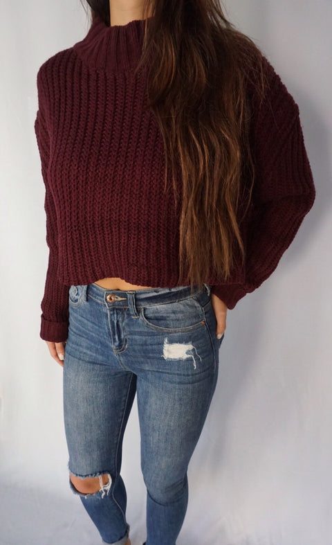 SCOTTSDALE HIGH NECK SWEATER (Maroon)