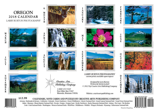 2018 Oregon Wall Calendar