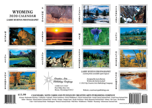 2020 Wyoming Wall Calendar