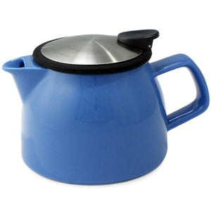 Tealula 16 oz bell-shaped Blue teapot with square handle and black and silver detachable push-on-lid