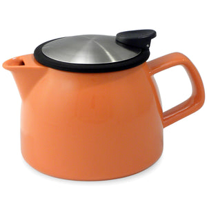 Tealula 16 oz bell-shaped Carrot Orange teapot with square handle and black and silver detachable push-on-lid
