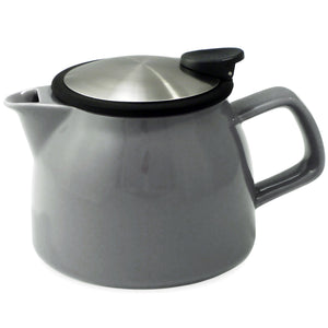 Tealula 16 oz bell-shaped Gray teapot with square handle and black and silver detachable push-on-lid