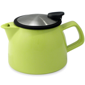 Tealula 16 oz bell-shaped Lime Green teapot with square handle and black and silver detachable push-on-lid