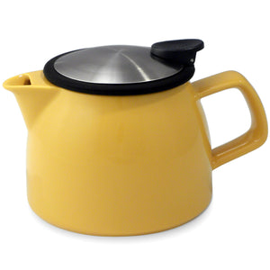Tealula 16 oz bell-shaped Mandarin Yellow teapot with square handle and black and silver detachable push-on-lid