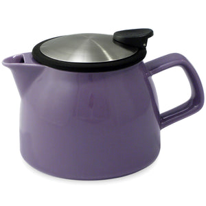 Tealula 16 oz bell-shaped  Purple teapot with square handle and detachable black and silver push-on-lid