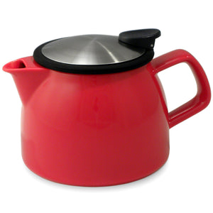 Tealula 16 oz bell-shaped Red teapot with square handle and black and silver detachable push-on-lid