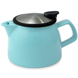 Tealula 16 oz bell-shaped Turquoise teapot with square handle and black and silver detachable push-on-lid
