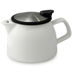 Tealula 16 oz bell-shaped White teapot with square handle and black and silver detachable push-on-lid
