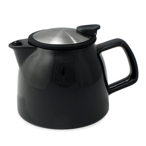 Tealula 26 oz bell-shaped black teapot with square handle and black and silver detachable push-on-lid