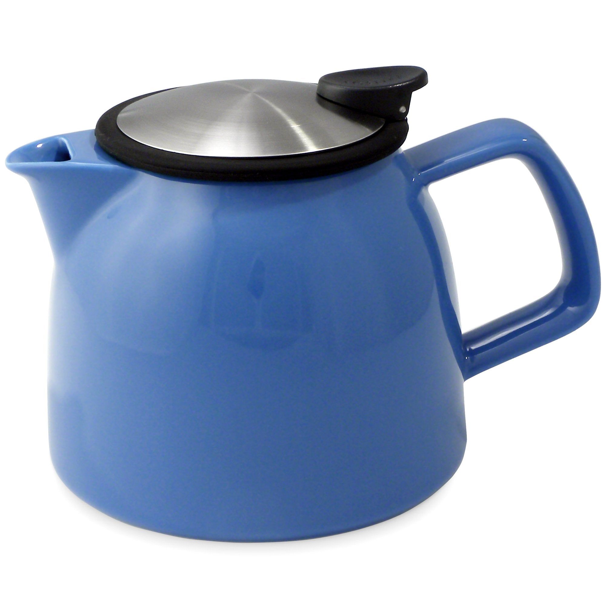 Tealula 26 oz bell-shaped blue teapot with square handle and black and silver detachable push-on-lid