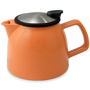 Tealula 26 oz bell-shaped carrot orange teapot with square handle and black and silver detachable push-on-lid