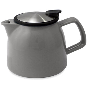 Tealula 26 oz bell-shaped gray teapot with square handle and black and silver detachable push-on-lid