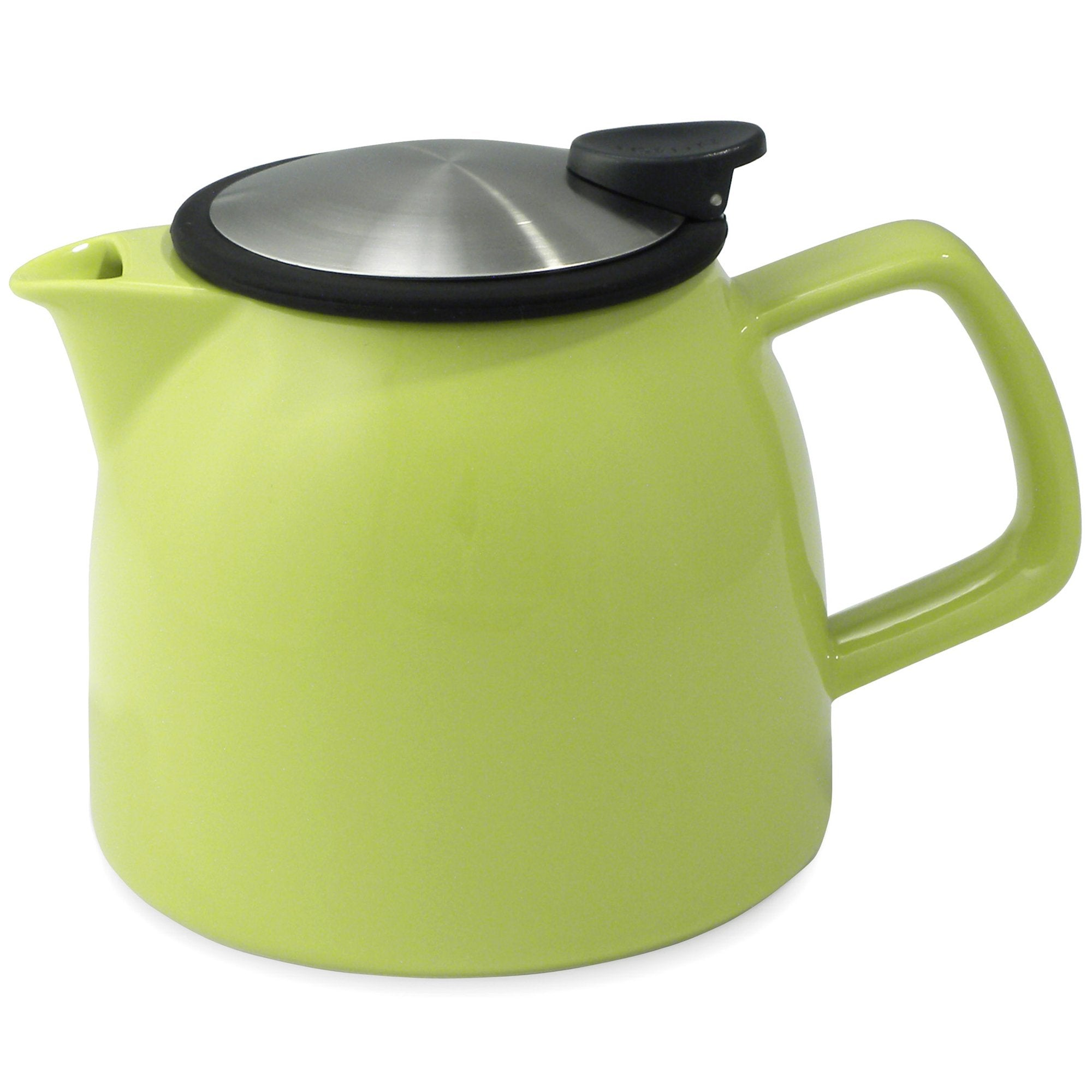Tealula 26 oz bell-shaped lime green teapot with square handle and black and silver detachable push-on-lid