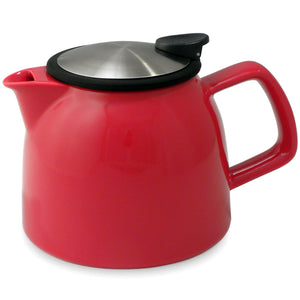 Tealula 26 oz bell-shaped red teapot with square handle and black and silver detachable push-on-lid