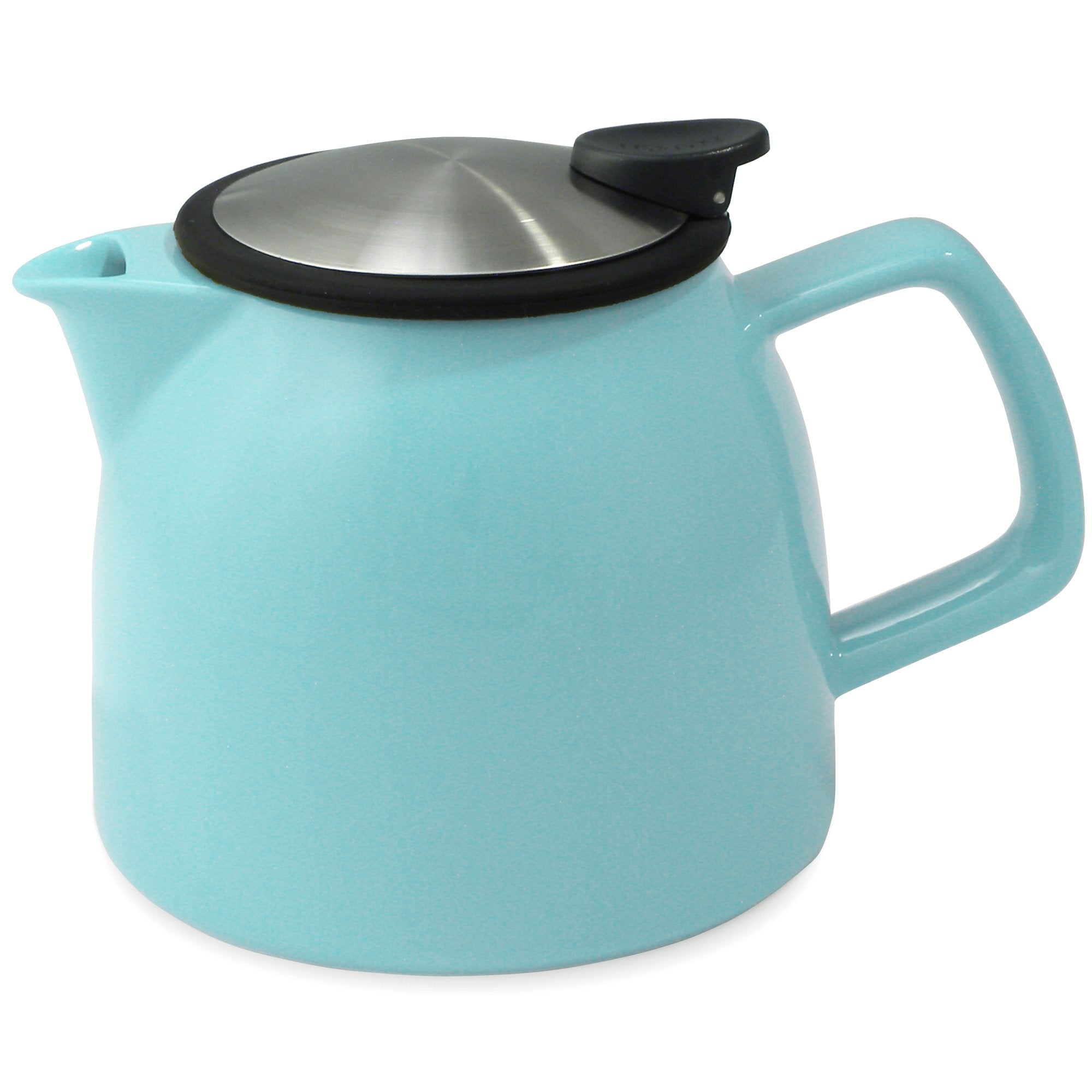 Tealula 26 oz bell-shaped turquoise teapot with square handle and black and silver detachable push-on-lid