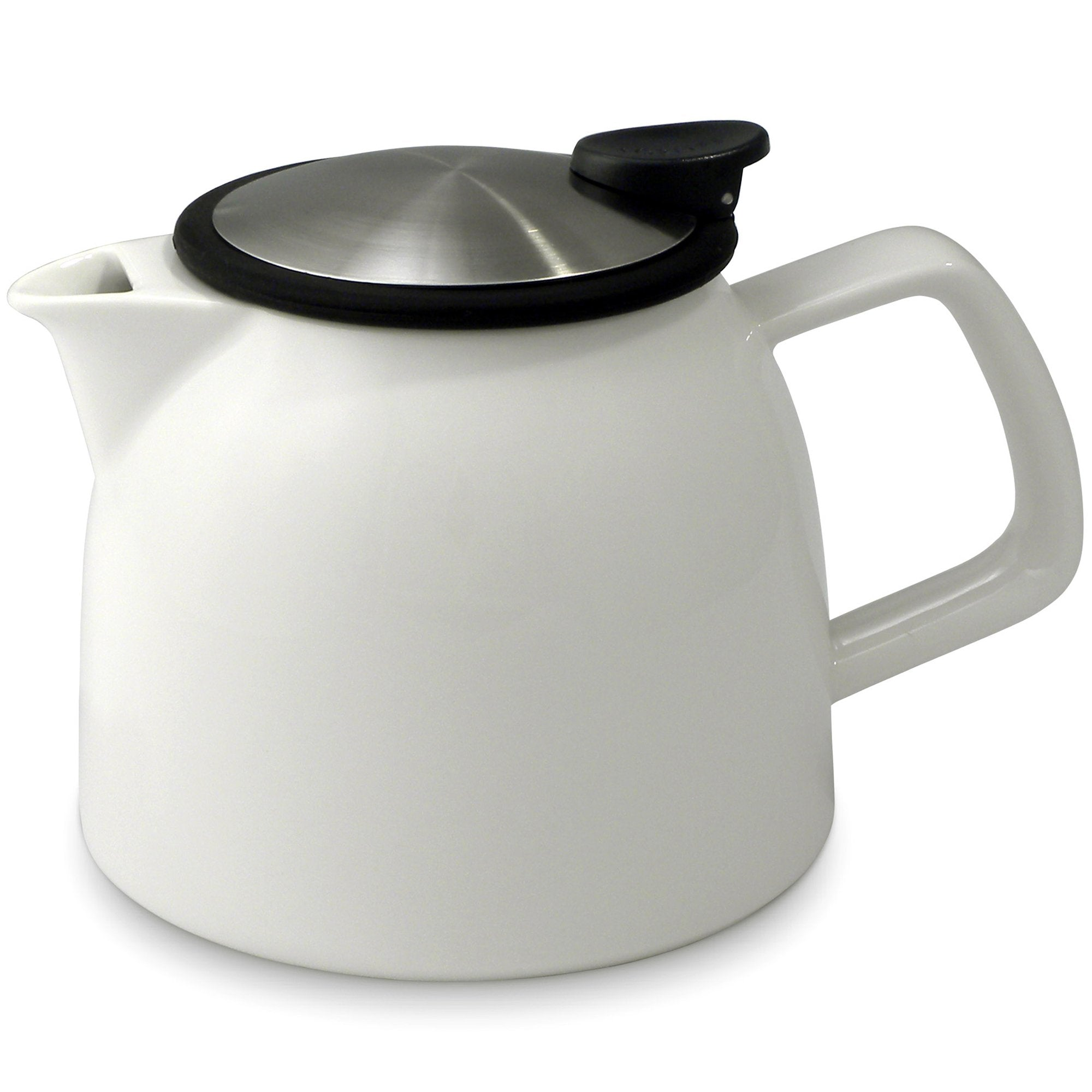 Tealula 26 oz bell-shaped white teapot with square handle and black and silver detachable push-on-lid