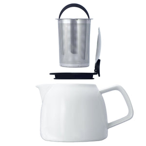 Tealula removable Silver basket infuser with black handle hovers over black and silver removable push-on-lid hovers over 26 oz bell-shaped white teapot with square handle