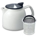 Tealula 26 oz bell-shaped White teapot with square handle and black and silver detachable push-on-lid next to silver removeable basket infuser