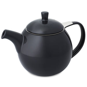 TeaLula 24 oz Curve sphere black graphite Teapot glossy surface finish and attached black lid