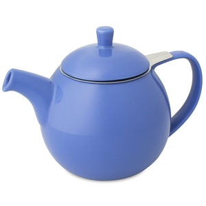 TeaLula 24 oz Curve sphere blue Teapot glossy surface finish and attached blue lid