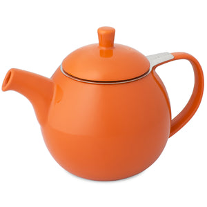 TeaLula 24 oz Curve sphere carrot orange colored Teapot glossy surface finish and attached lid