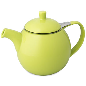 TeaLula 24 oz Curve sphere lime green Teapot glossy surface finish and attached lid