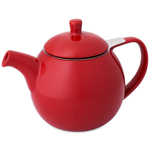 TeaLula 24 oz Curve sphere red Teapot glossy surface finish and attached lid