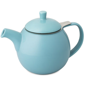 TeaLula 24 oz Curve sphere turquoise Teapot glossy surface finish and attached lid