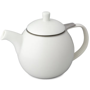 TeaLula 24 oz Curve sphere white Teapot matte surface finish and attached white matte lid