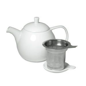TeaLula 24 oz Curve sphere white Teapot matte surface finish and attached white matte lid with an extra-fine stainless-steel infuser