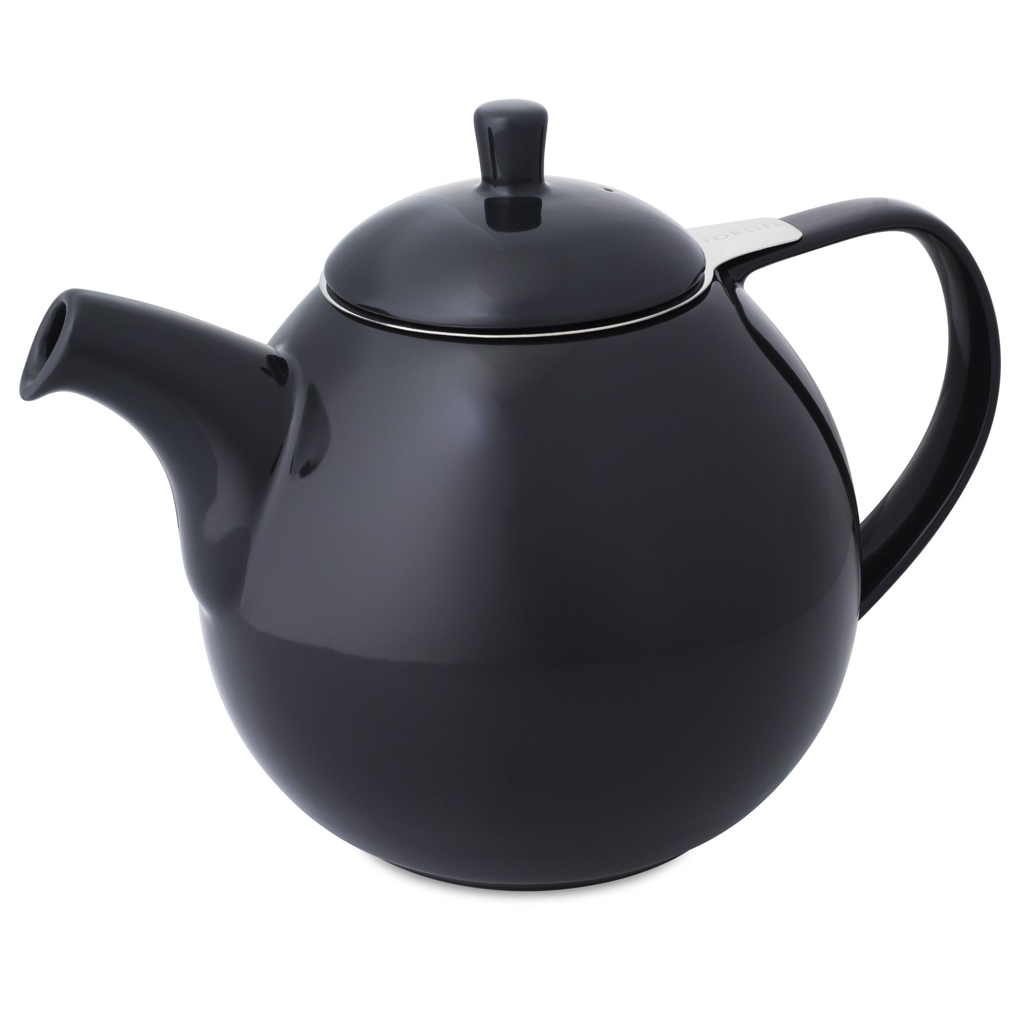 TeaLula 45 oz Curve black graphite Teapot glossy surface with lid