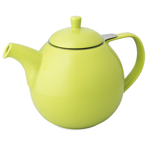 TeaLula 45 oz Curve lime green Teapot glossy surface with lid
