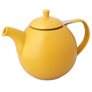 TeaLula 45 oz Curve Mandarin yellow orange colored Teapot glossy surface with lid