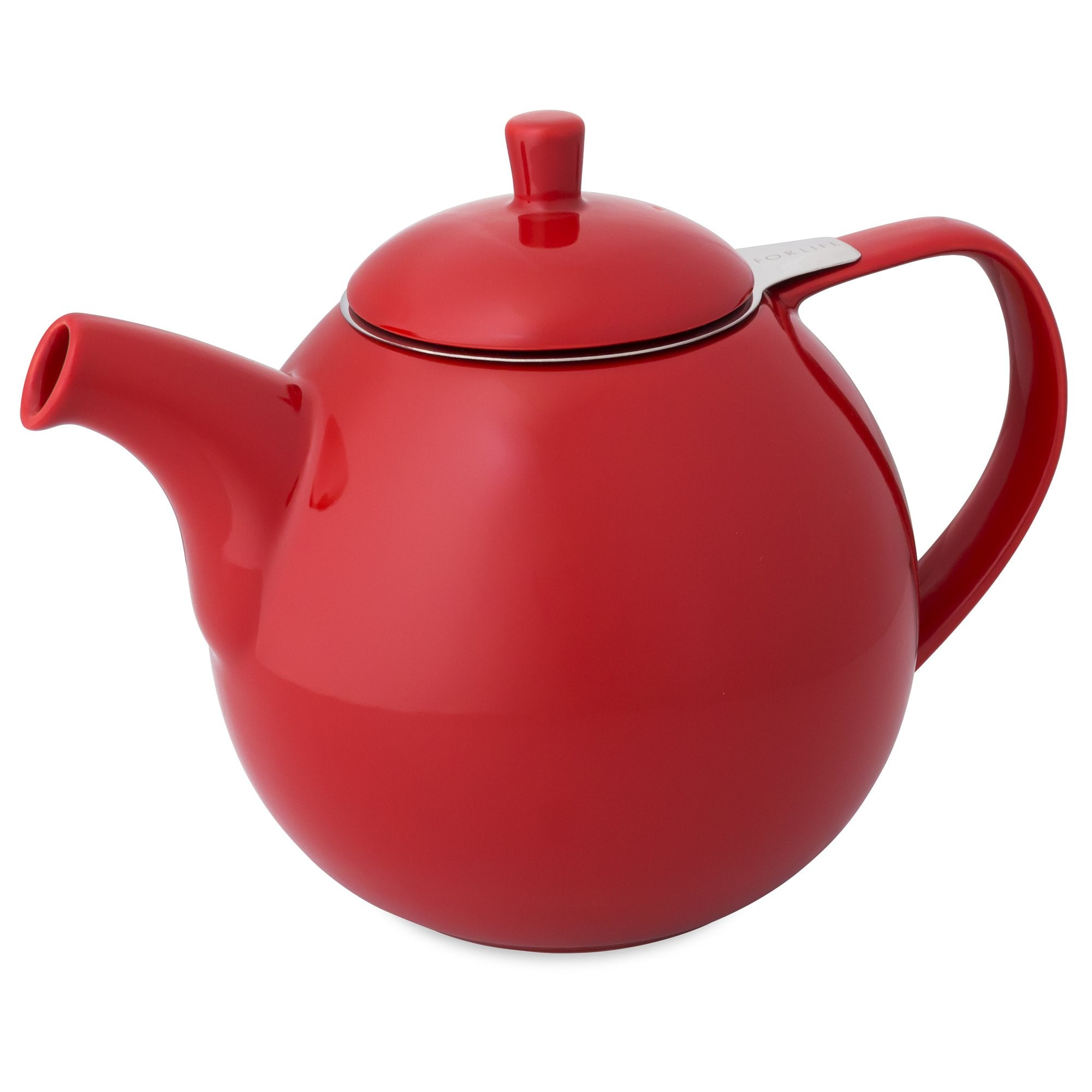 TeaLula 45 oz Curve red Teapot glossy surface with lid