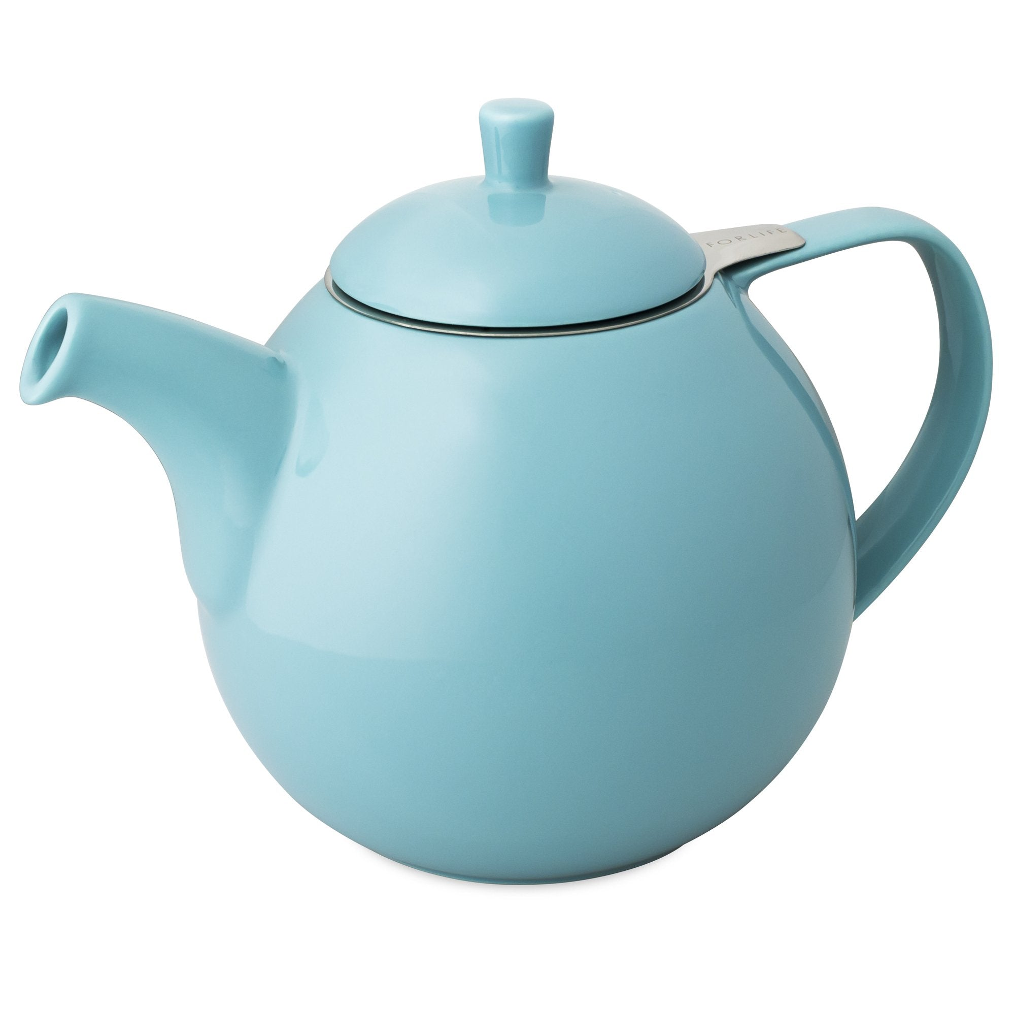TeaLula 45 oz Curve turquoise Teapot glossy surface with lid
