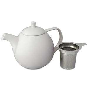 TeaLula 45 oz Curve white Teapot with lid and an extra-fine stainless-steel infuser