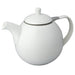 TeaLula 45 oz Curve white Teapot glossy surface with lid